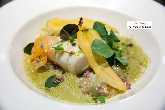 Citrus-steamed Halibut,  baby heirloom carrots, tapioca, green curry