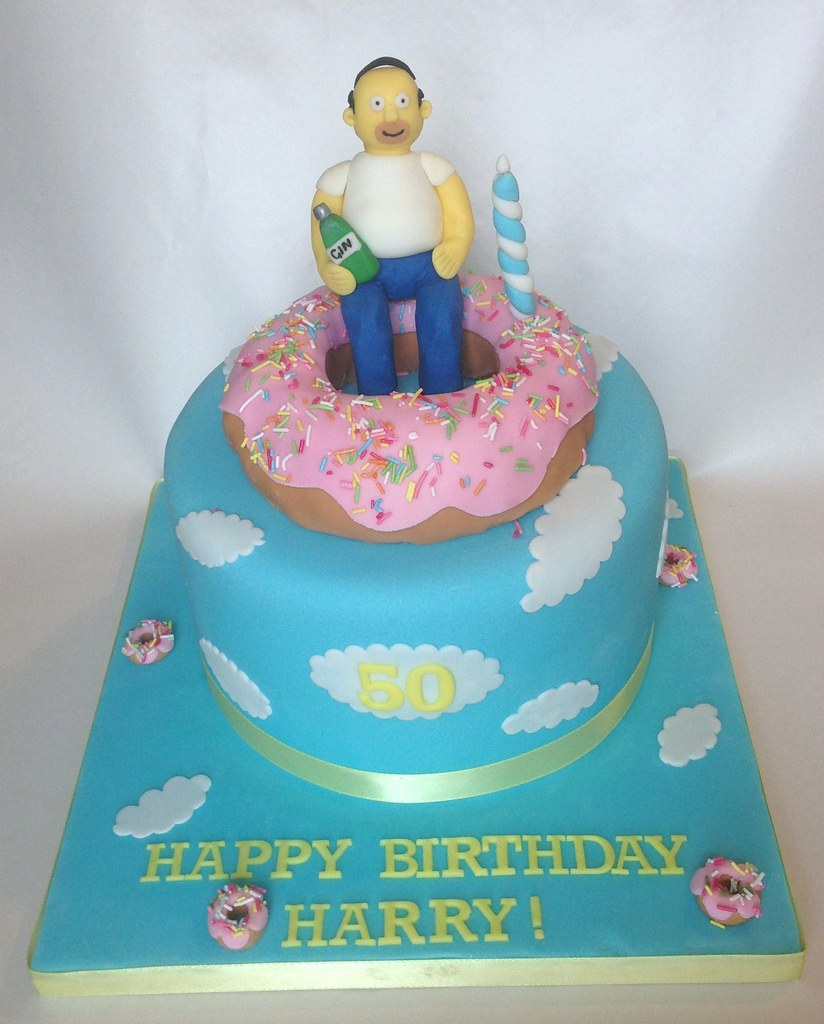 Excellent Homer Simpson 50Th Birthday Cake Cuppyuppy Cupcakes Flickr Funny Birthday Cards Online Sheoxdamsfinfo