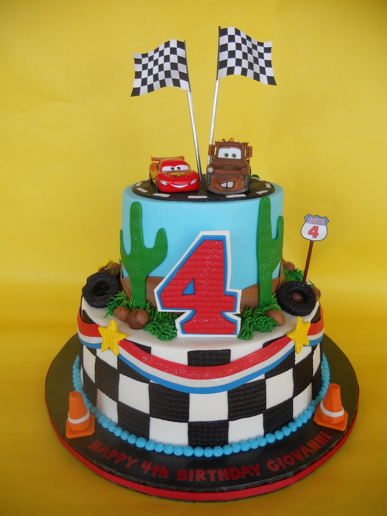 Enjoyable Disney Cars 4Th Birthday Cake Amy Stella Flickr Funny Birthday Cards Online Alyptdamsfinfo