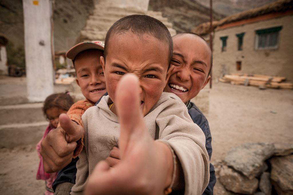 Children on the street at Rangdum, Kashmir, India