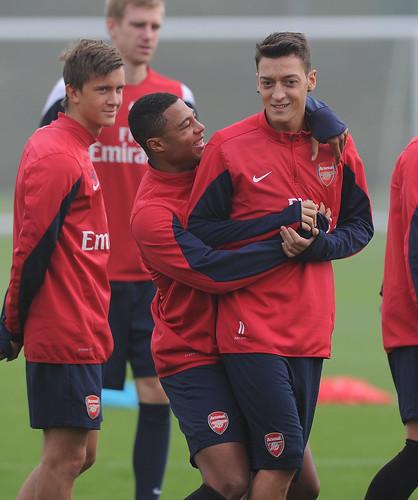 Serge Gnabry and Mesut Ozil of Arsenal