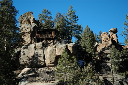 trees nature rock cabin colorado ponderosapine southelkcreekroad spinxpark