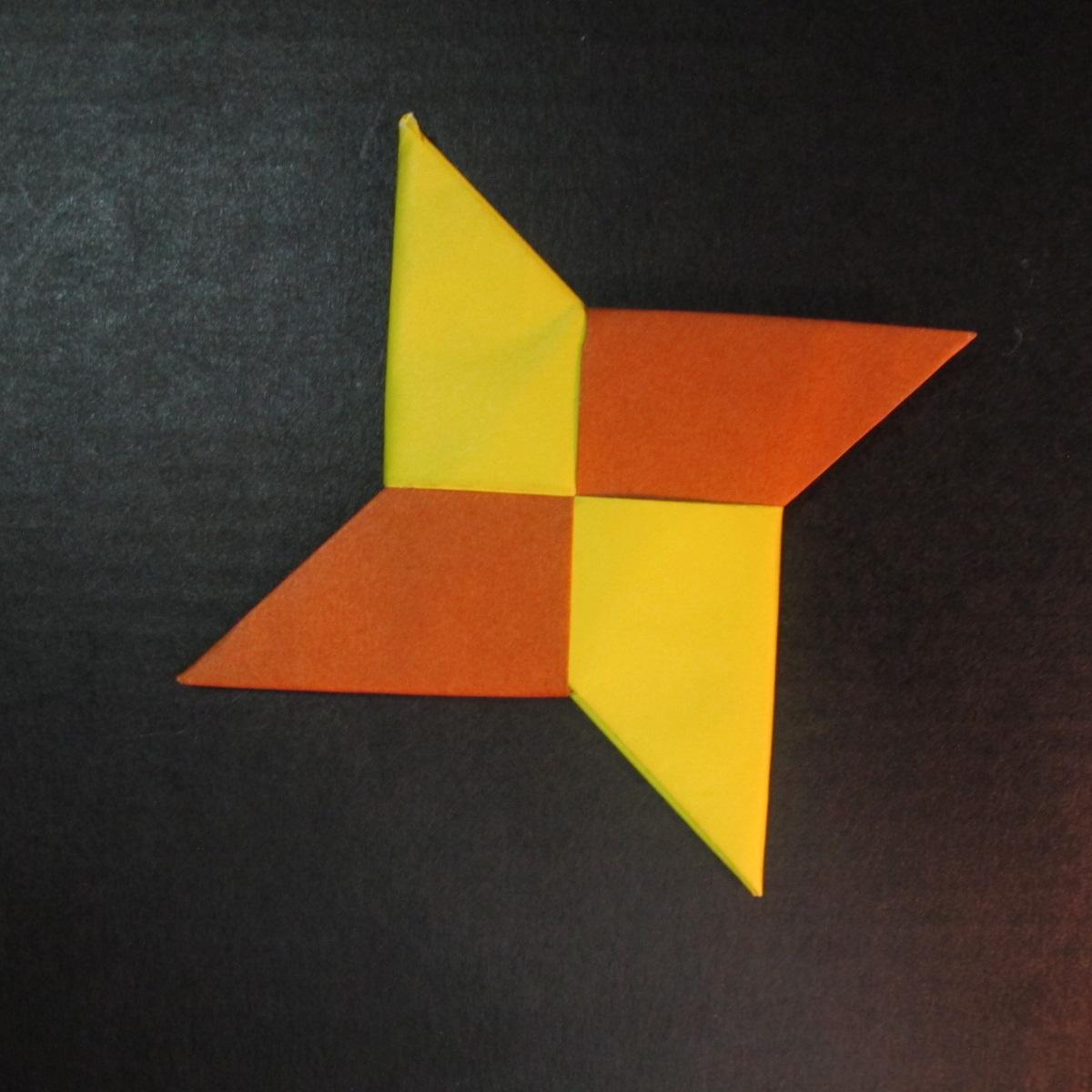 สอนวิธีพับกระดาษเป็นดาวกระจายนินจา (Shuriken Origami) - 017