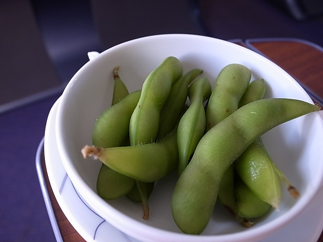 <p>b)すごくおいしい枝豆だった。</p>