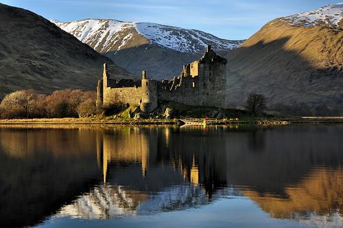 sunset castle landscape scotland