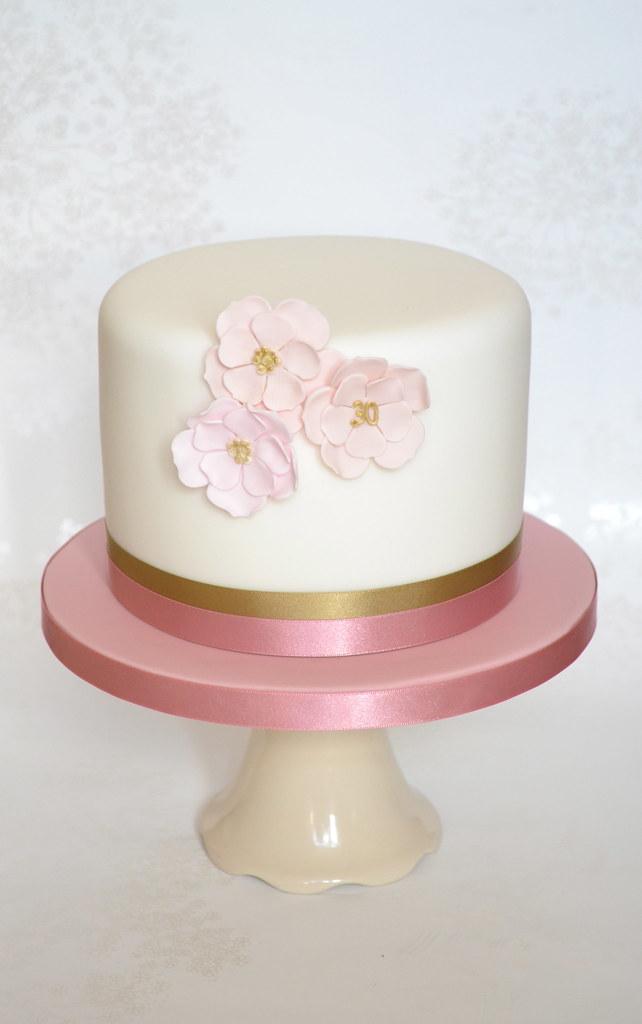 Outstanding Elegant Pink Flower Birthday Cake An Elegant Birthday Cake Flickr Personalised Birthday Cards Veneteletsinfo