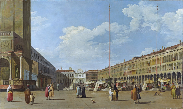 Canaletto - View of Piazza San Marco towards west with the now disappeared church San Geminiano