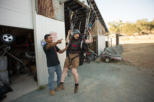 Joe Teaching Tyler in a Powered Paragliding Simulator   by goingslowly