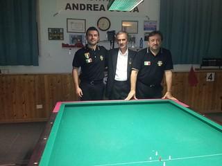 Da sinistra Valentino Cristofori, l'arbitro Braglia Franco, Enrico Rosa