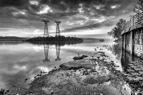 light blackandwhite clouds reflections industrial maryland riversandstreams susquehanariver conowingodam