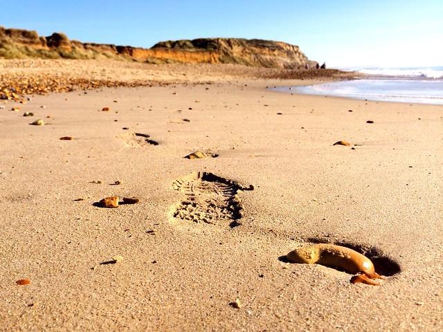 Footprints at Hengistbury Head