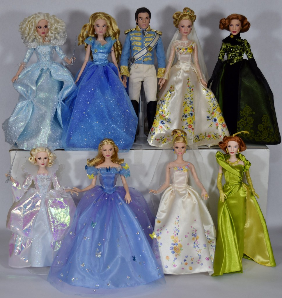 Complete Set of Disney Cinderella Movie Dolls - Disney Store and Mattel