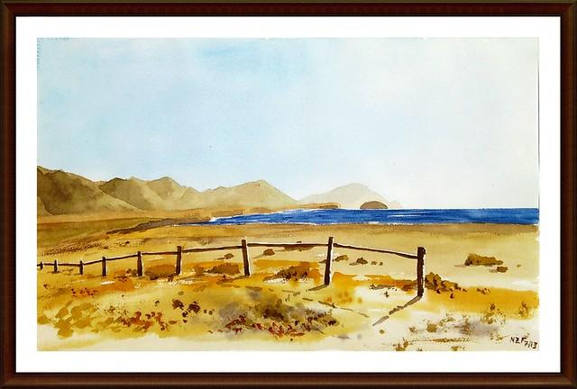 Landscape, view from Los Escullos beach, Almería