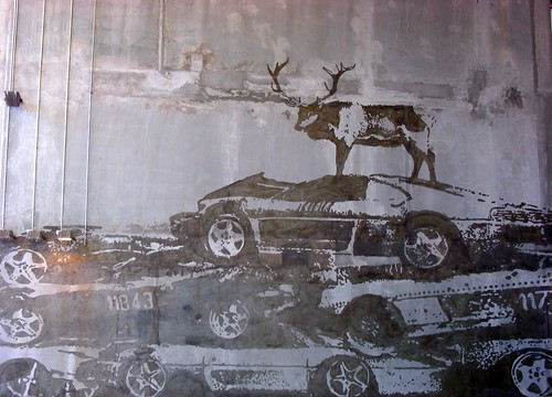 Mural in the belly of the car park.