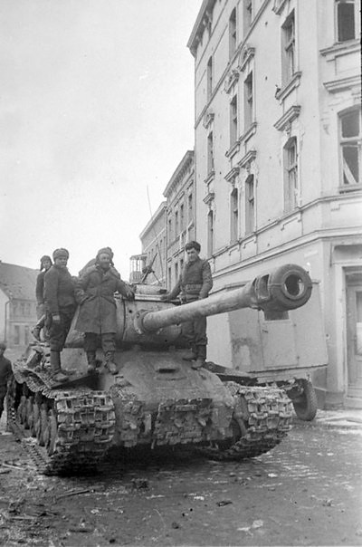 Soviet tank is-2 on the street