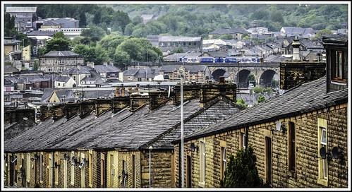 train is railway viaduct his accrington sprinter terracedhouses arrivatrainsnorth