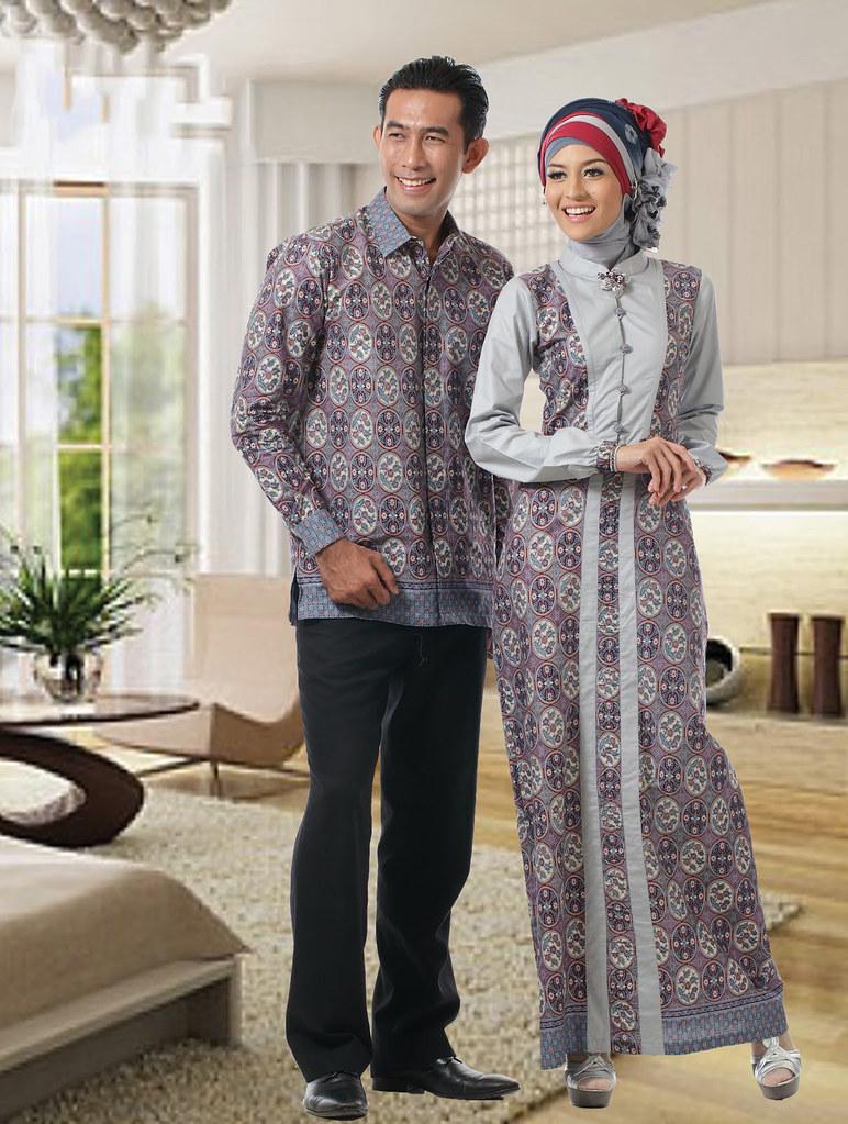 Model Gamis Batik Terbaru Modern Silver C23 Devi Sofiah