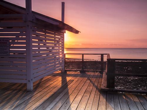 sea sunrise pier redcliffe cloudsstormssunsetssunrises