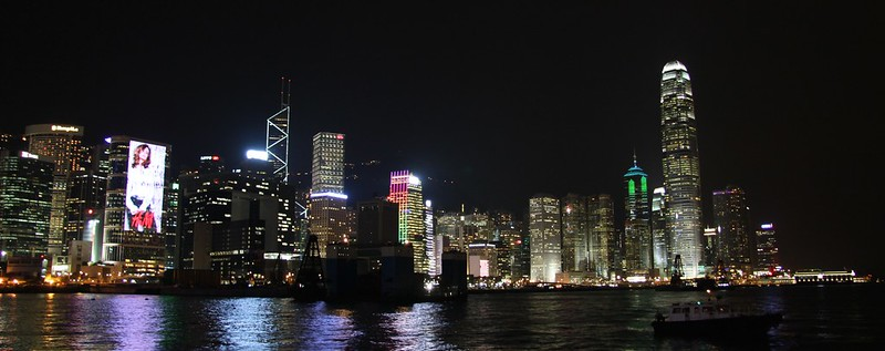 Urban Environments - The Hong Kong harbour front at night from the Hong Kong Convention and Exhibition Centre