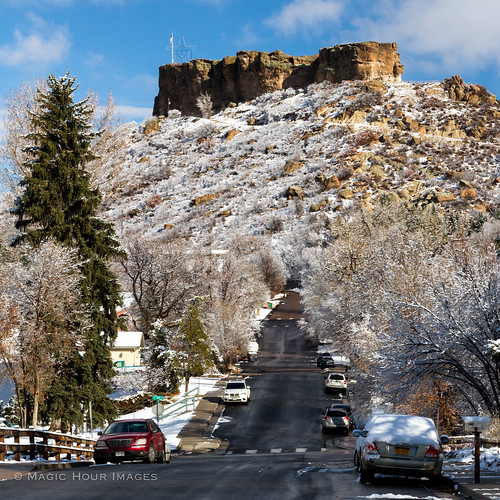 morning winter snow rock square star colorado flag lewis therock 3rd castlerock douglascounty bsquare
