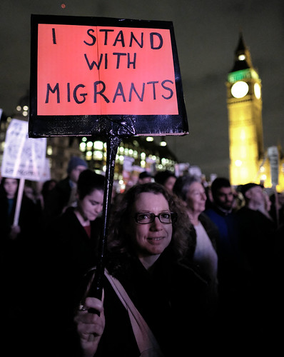 I stand with migrants. Anti-Trump protester in London's Parliament Square. | by alisdare1