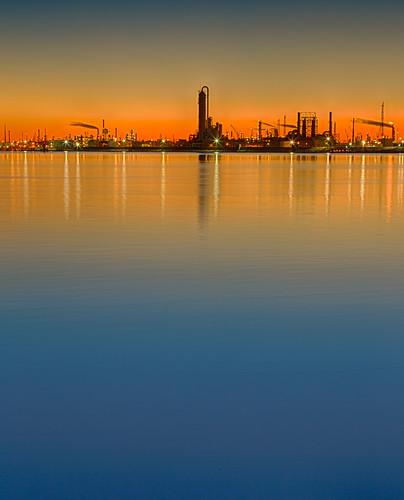 sunset galveston water bay texas houston refinery