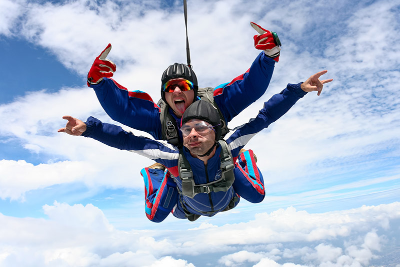 Skydiving in Victoria, Vancouver Island, British Columbia, Canada.