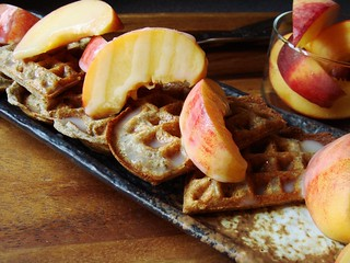 Buckwheat Waffles with Cardamom Cream Syrup & Peaches | by ComeUndone