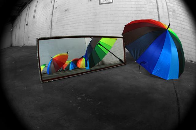 Umbrellas in a vacant room
