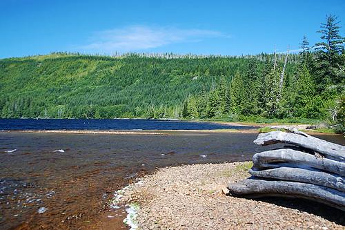 Nahwitti River flows into Nahwitti Lake near Port Hardy, Vancouver Island, British Columbia