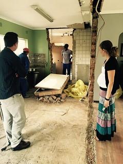 Kitchen renovation: Lindsey checks the progress   by olafmeister