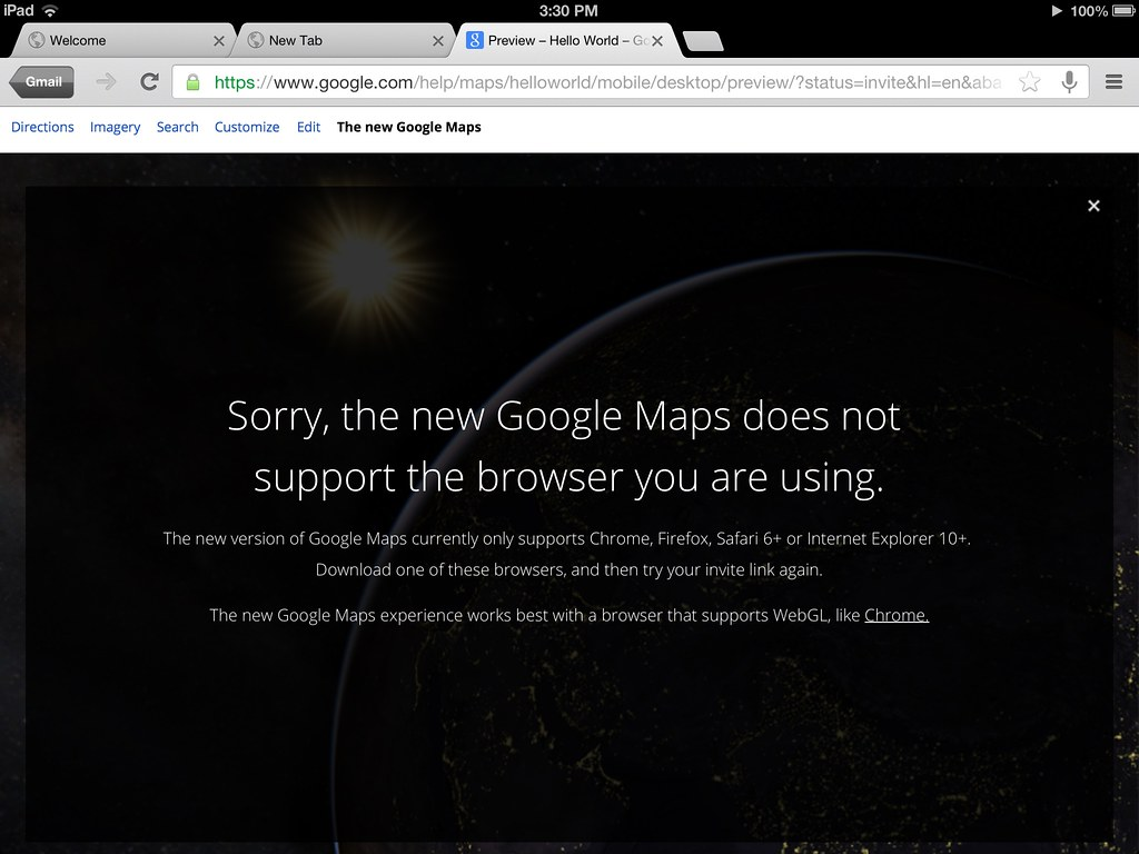 Google maps preview tells me to use Chrome   | But I am Chro… | Flickr