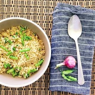 Today's lunch, fresh shallot and radish seed pod quinoa | by islandlife