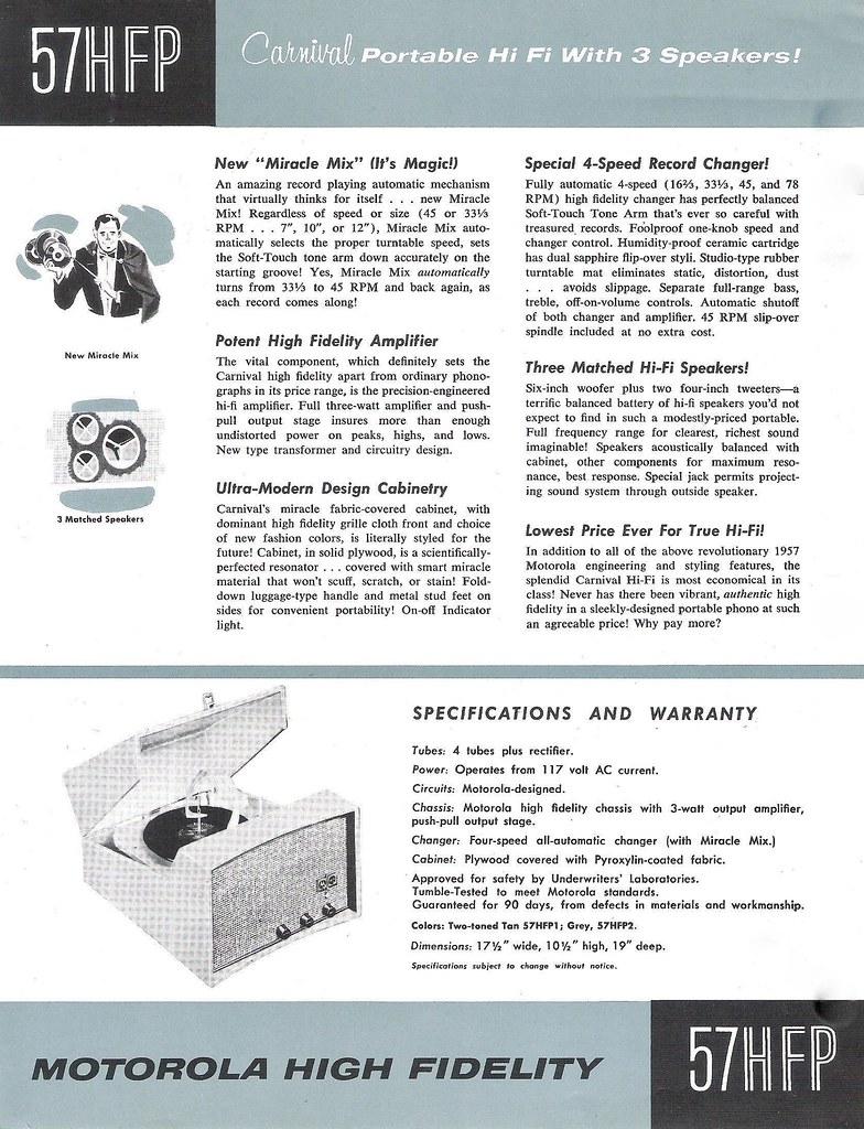 MOTOROLA HI-FI Record Changer Data Sheet Model 57HFP (USA