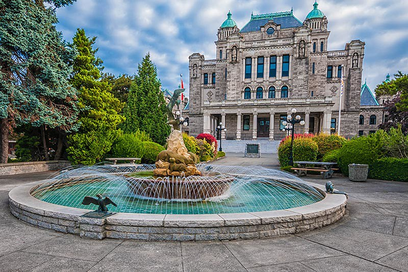 The rear of the BC Government Legislative Building in Victoria, Vancouver Island British Columbia