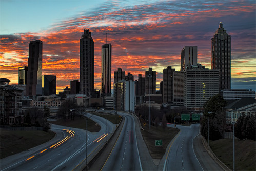city longexposure atlanta sunset color colour building cars skyline night clouds canon ga buildings georgia photography lights photo cityscape traffic atl sunsets 7d lightstream markchandler