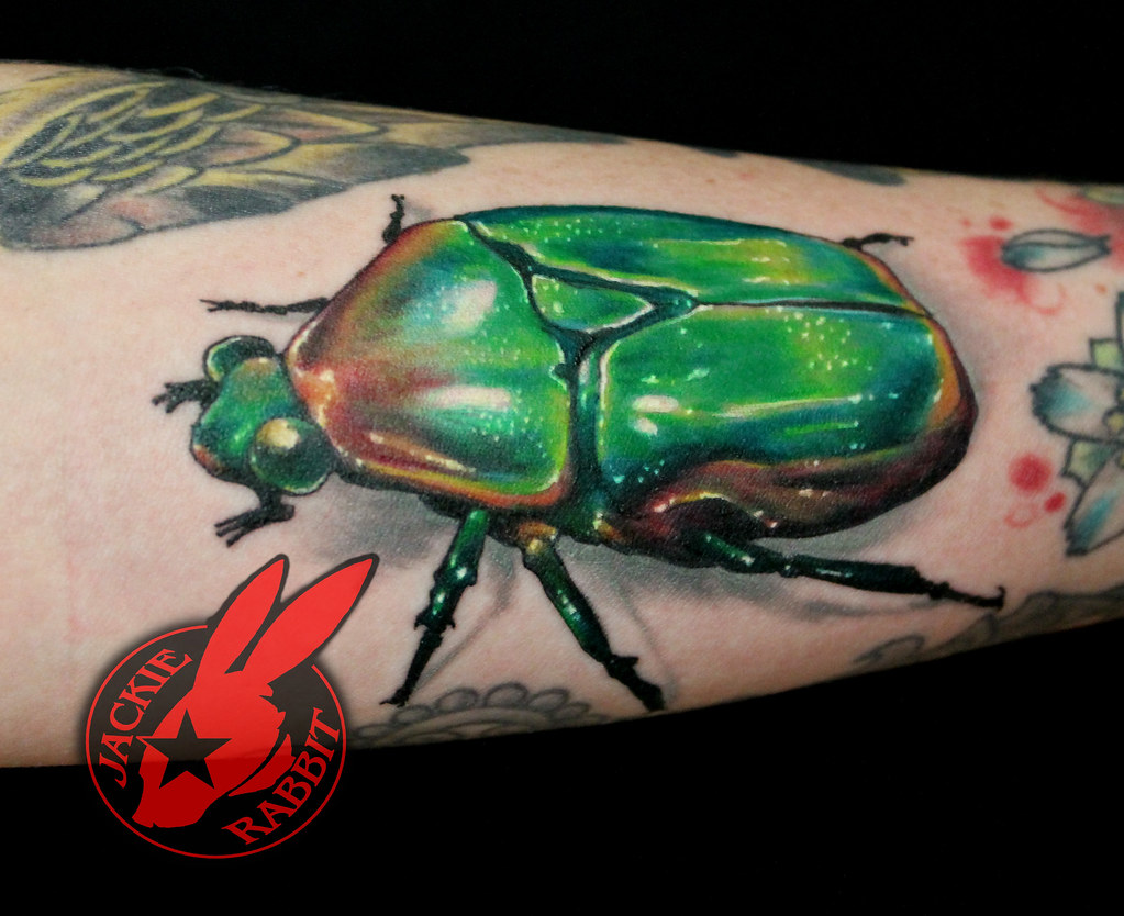 3d Realistic June Bug Scarab Beetle Tattoo by Jackie Rabbi