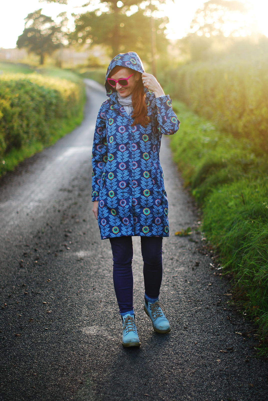 Seasalt blue floral raincoat - rainy day outfit