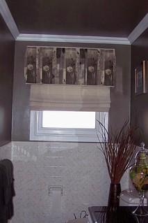 Upholstered Cornice & Flat Roman Shade Open