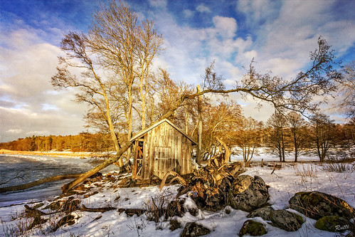 sky lake snow tree clouds landscape rocks sweden stockholm