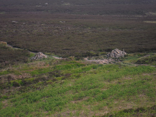 Cairns at Footpath Crossing, Burbage Rocks SWC Walk 266 - Sheffield to Bamford (via Burbage Rocks and Stanage Edge) or to Moscar Lodge