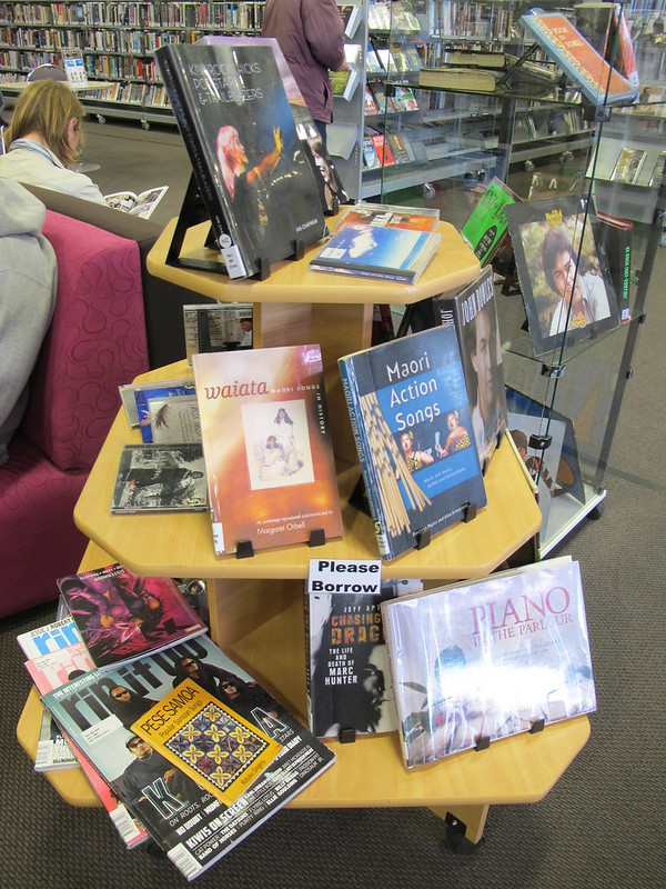 NZ Music Month display at Central Library Tuam