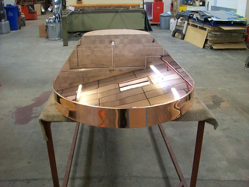 30 - Mirror Polished Copper Table Top 260cm long x 66cm wide x 10cm deep