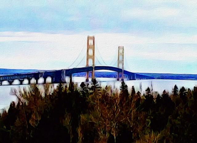 View of Mackinac Bridge from Upper Peninsula