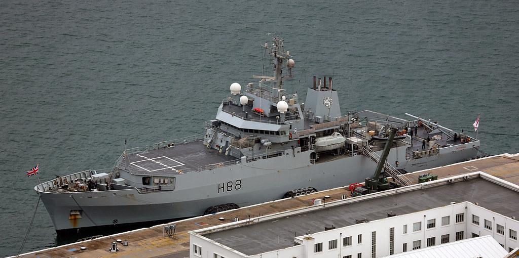 HMS Enterprise (H88) at The Tower, HM Naval Base, Gibraltar