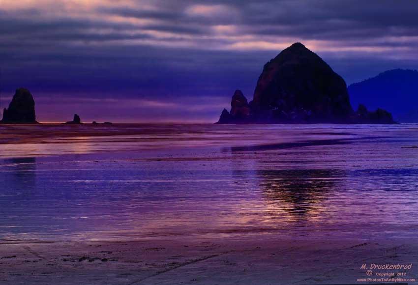 Sunset Silhouette Haystack Rock, Cannon Beach, Oregon