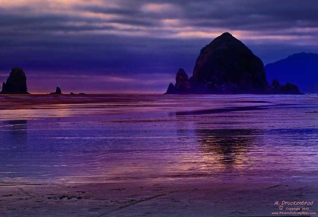 Sunset Silhouette Haystack Rock, Cannon Beach, Oregon