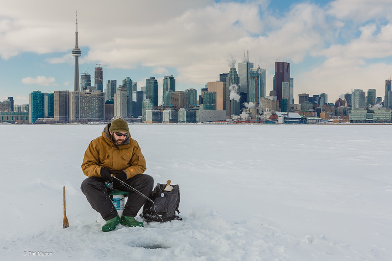 How cold has it been lately? Ice fishing in Toronto Harbour
