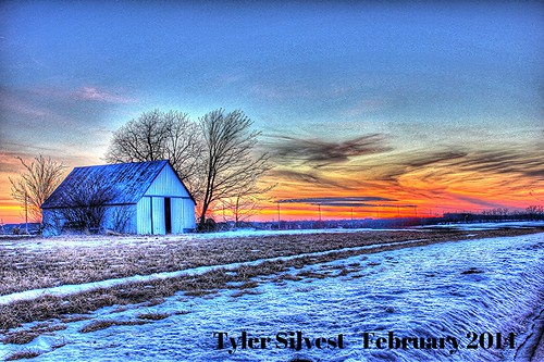 winter sunset snow barn snowy kansas gardner
