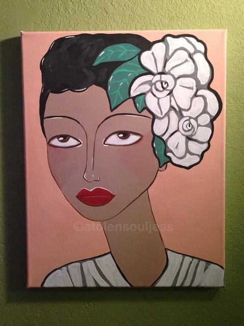 Billie Holiday painting jazz acrylic art